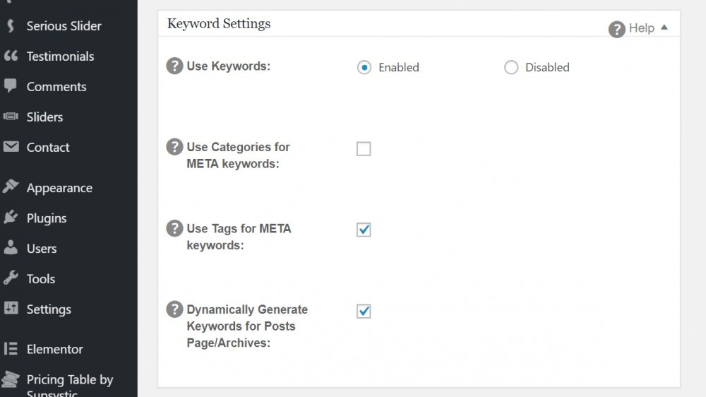 All In One SEO Pack Keyword Settings